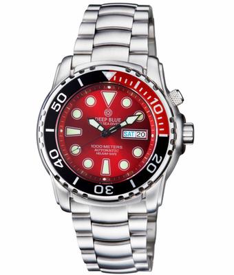 PRO SEA DIVER 1000M BRACELET ¼ RED/ BLACK BEZEL –RED DIAL
